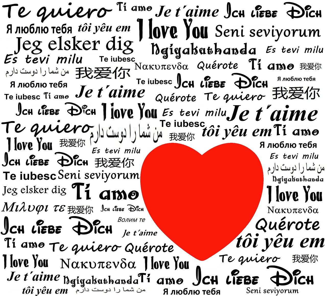Картиник со словами на разных языках